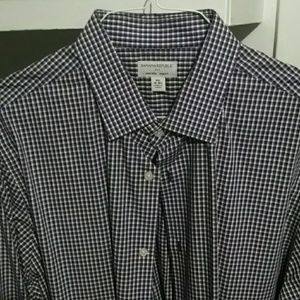 Men's button down purple black plaid dress shirt